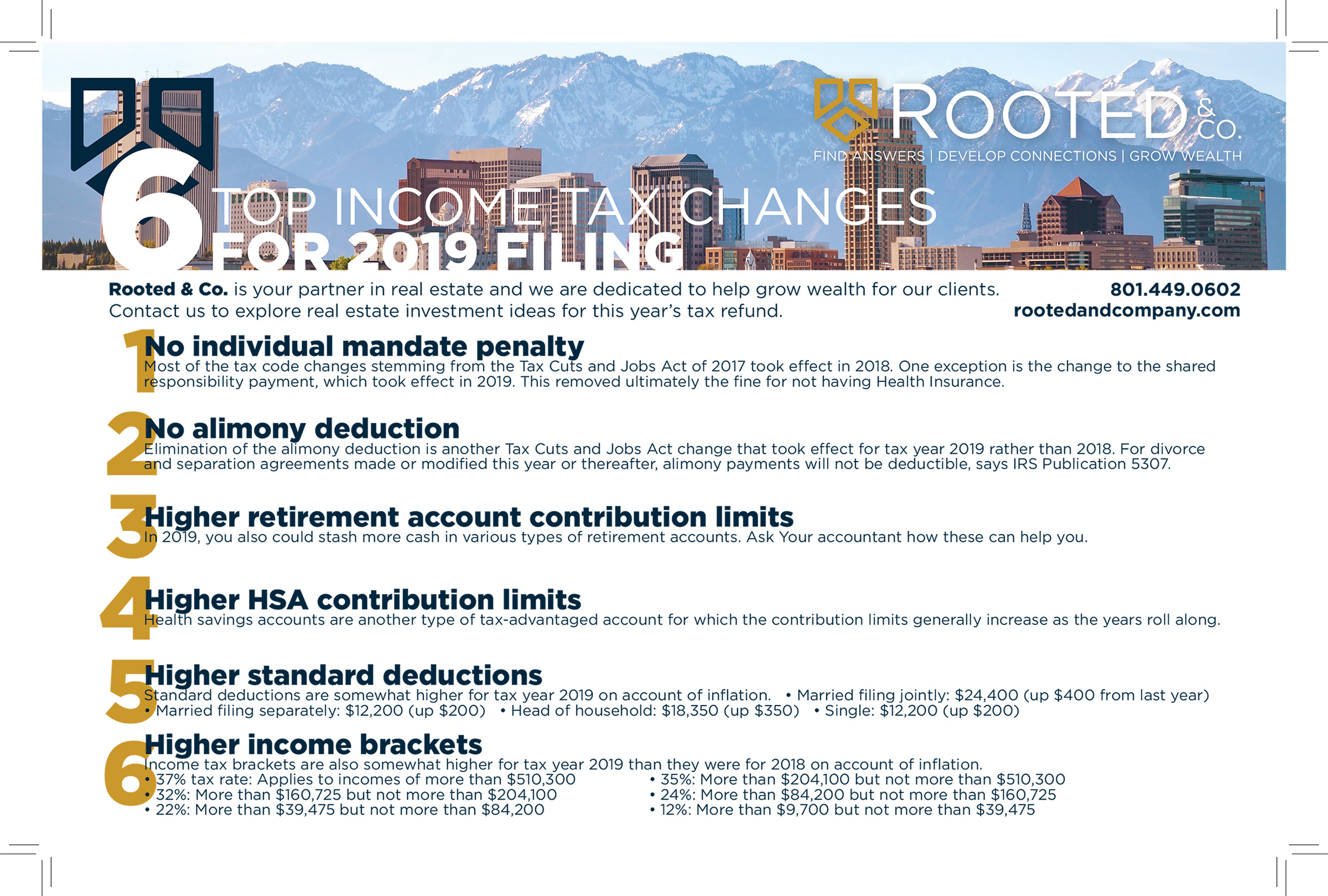 Top 6 Tax Changes for 2019, Rooted&Co, RootedandCompany, Real Estate, 2019, Tax, Taxes